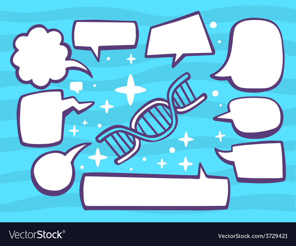 Dna molecule chain with speech comics bub vector | Price: 1 Credit (USD $1)