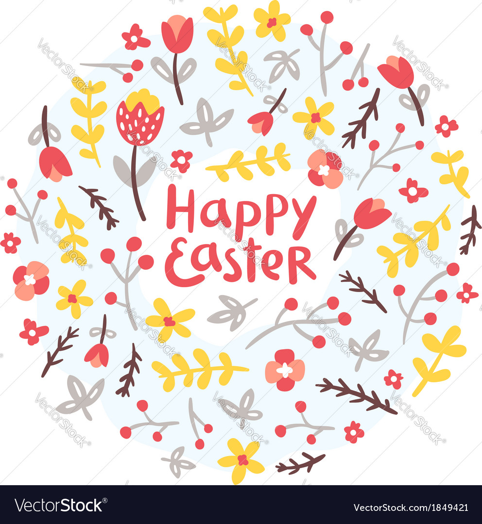 Easter floral wreath vector | Price: 1 Credit (USD $1)