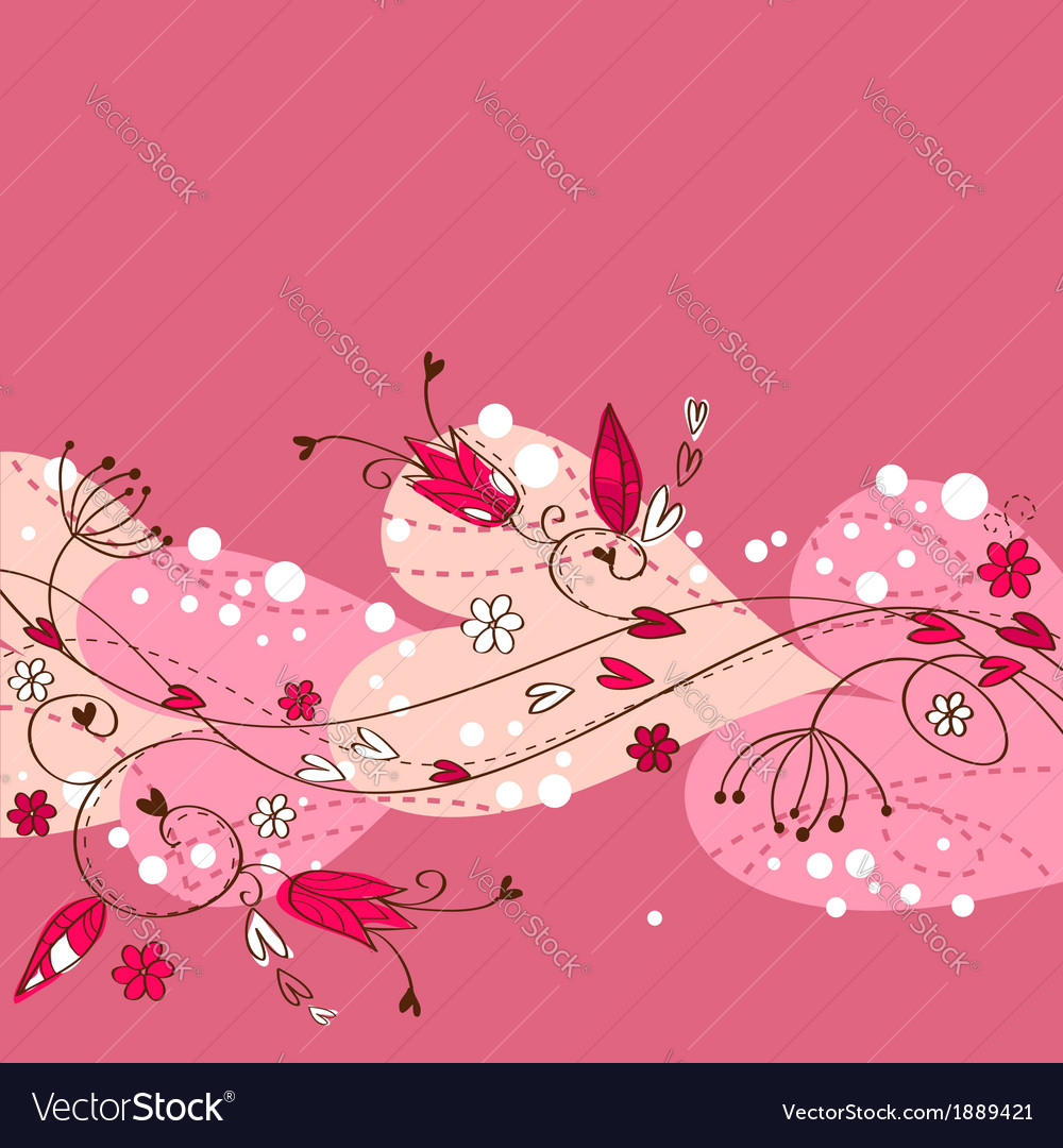 Elegant floral postcard with hearts and flowers vector | Price: 1 Credit (USD $1)