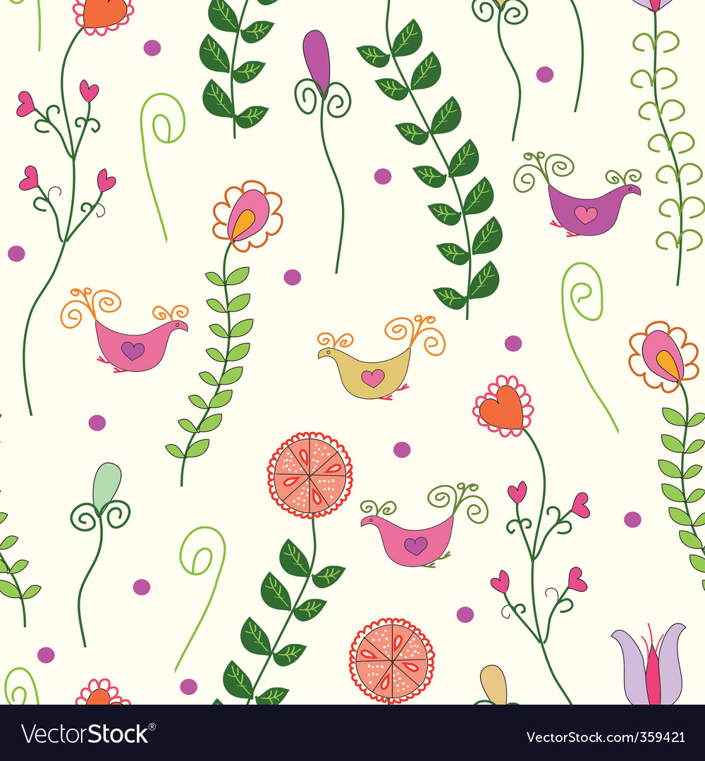 Flowers birds vector | Price: 1 Credit (USD $1)