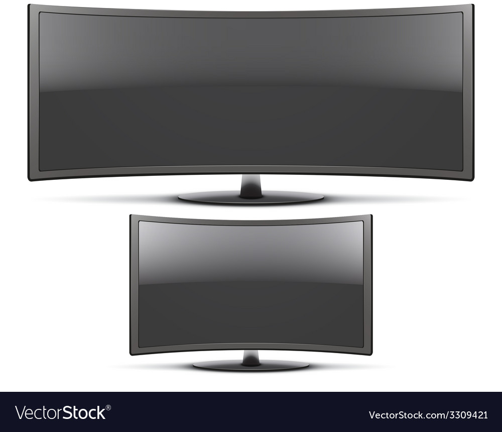 Set frontal view of curved widescreen led or lcd vector | Price: 1 Credit (USD $1)