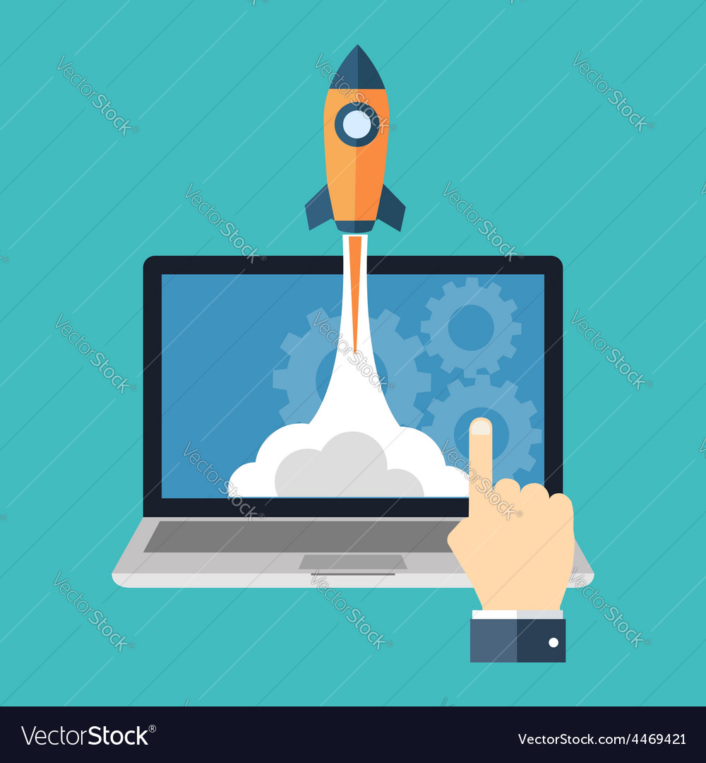 Startup launching new product concept flat design vector | Price: 1 Credit (USD $1)