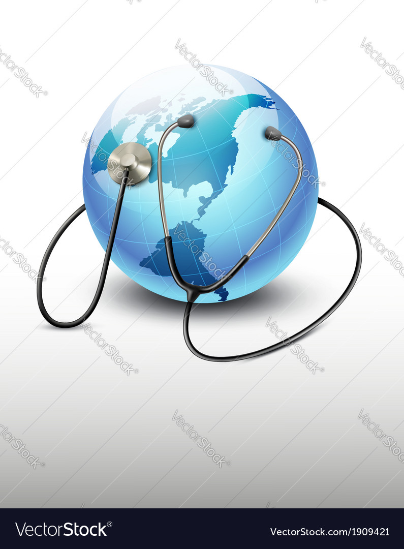 Stethoscope against a globe vector | Price: 1 Credit (USD $1)