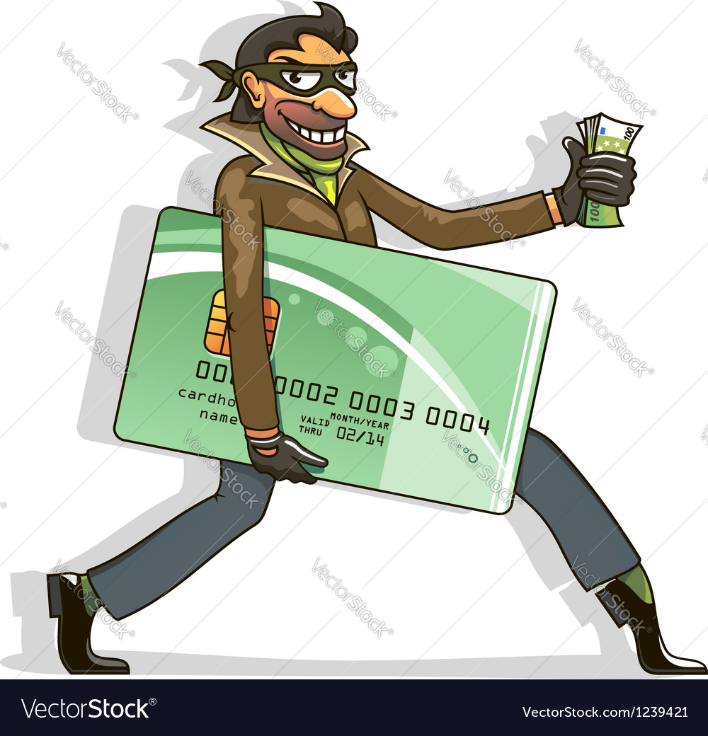 Thief steals credit card and money vector | Price: 3 Credit (USD $3)