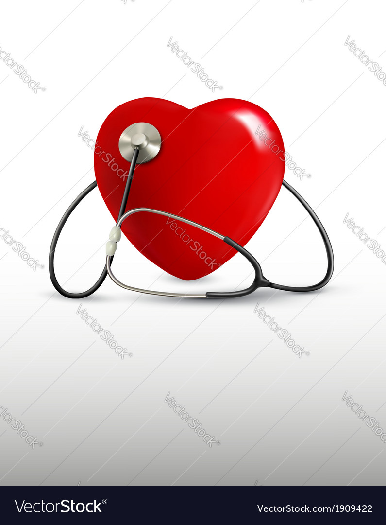 Background with a stethoscope and a heart vector | Price: 1 Credit (USD $1)