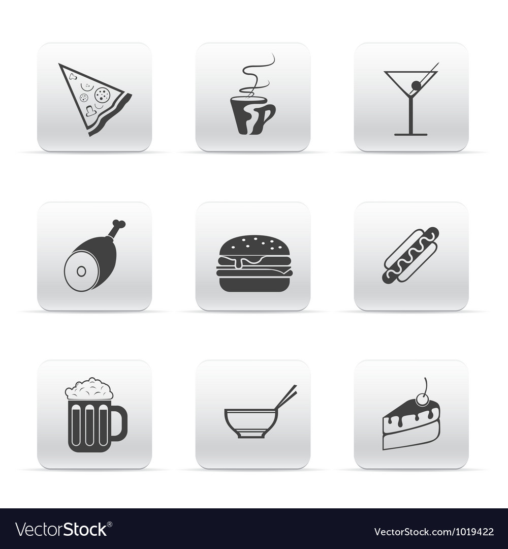 Button set icons food and drink vector | Price: 1 Credit (USD $1)