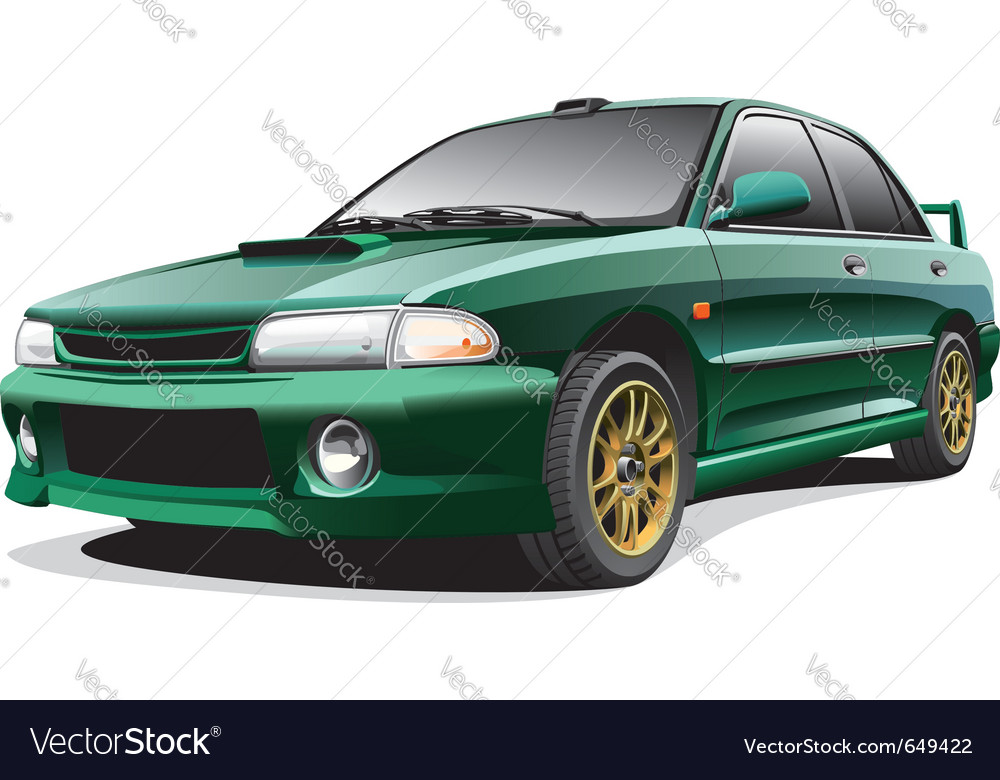 Dark-green sports rally car vector | Price: 3 Credit (USD $3)