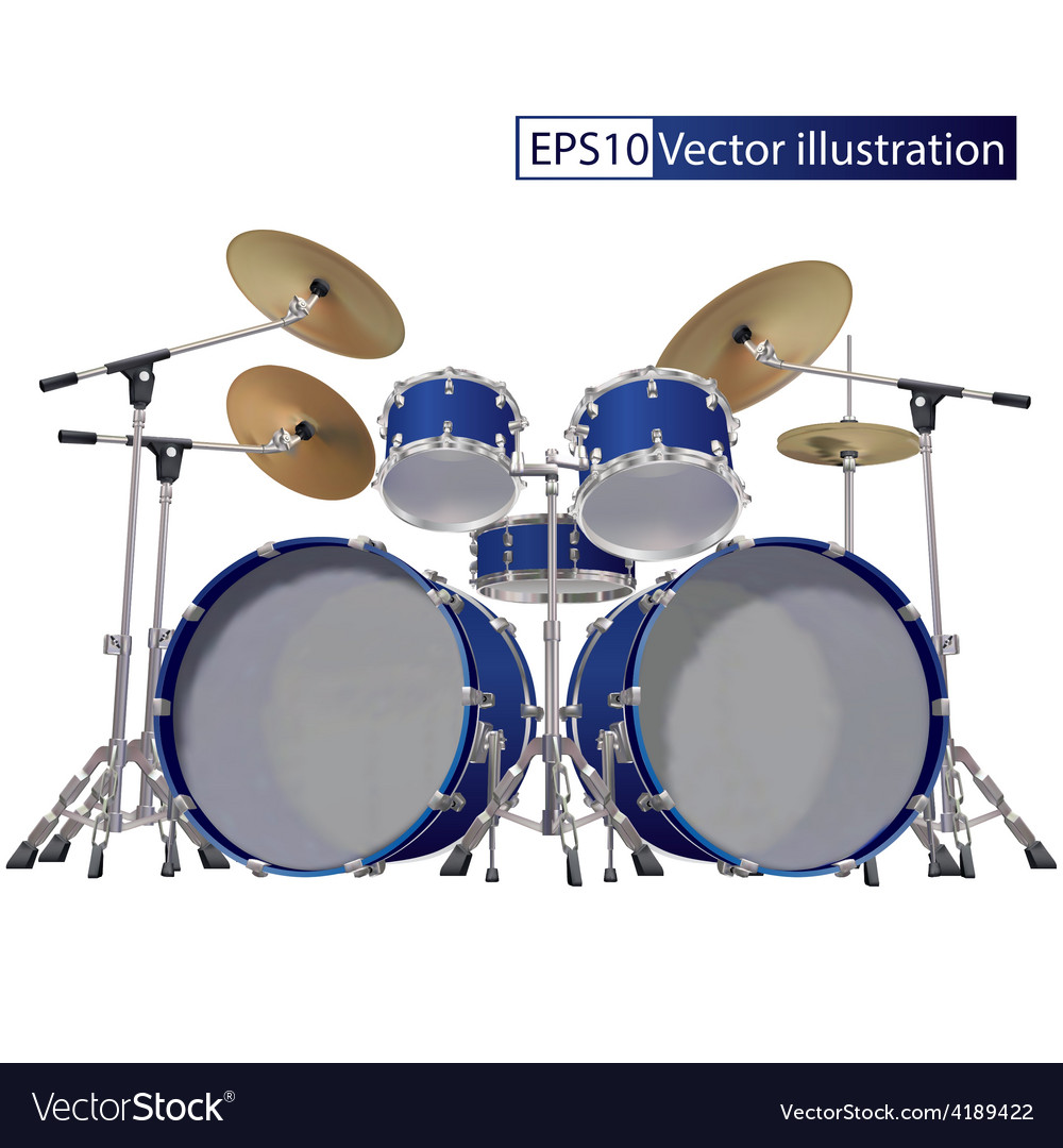 Drum kit isolated on a white background vector | Price: 1 Credit (USD $1)