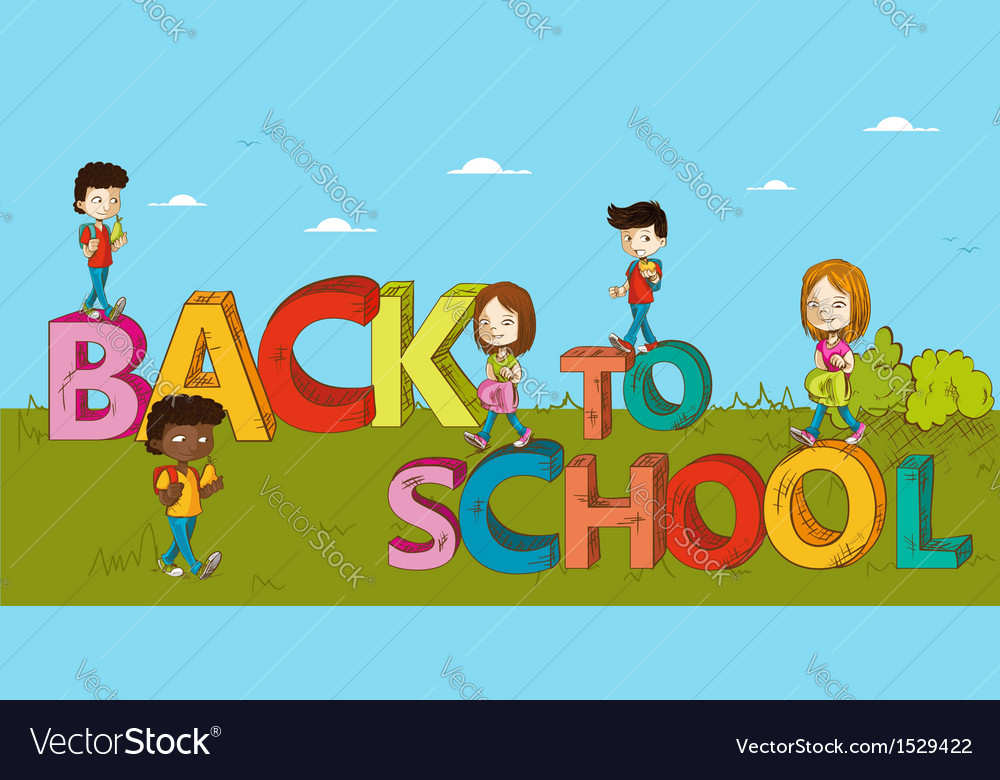 Education back to school kids cartoon vector | Price: 1 Credit (USD $1)
