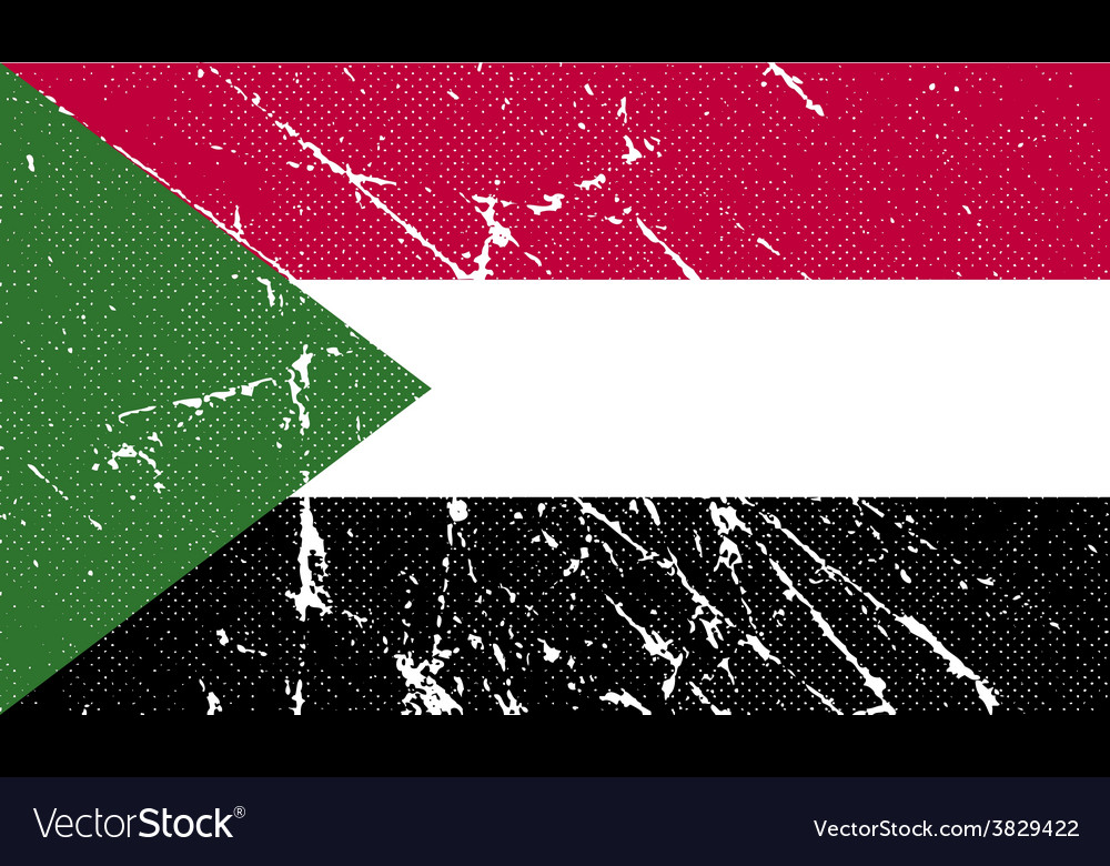Flag of sudan with old texture vector | Price: 1 Credit (USD $1)