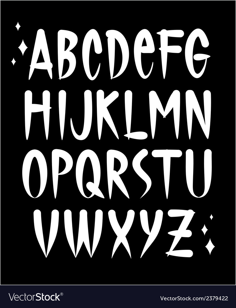 Hand written old school tattoo style font alphabet vector | Price: 1 Credit (USD $1)