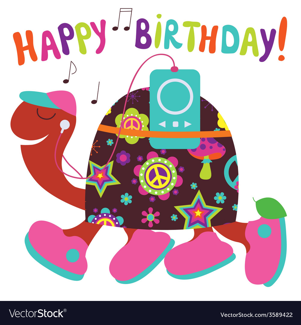 Happy birthday card with turtle vector | Price: 1 Credit (USD $1)