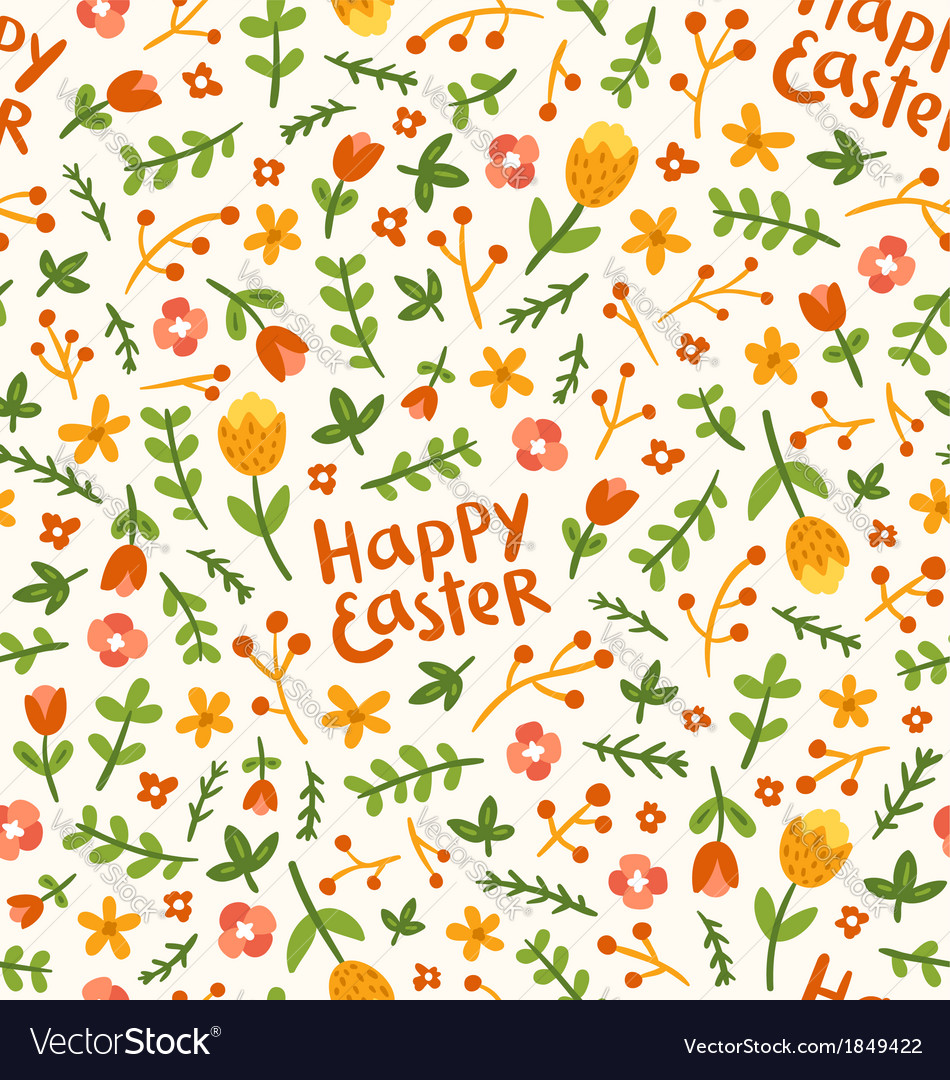 Happy easter flower pattern vector | Price: 1 Credit (USD $1)