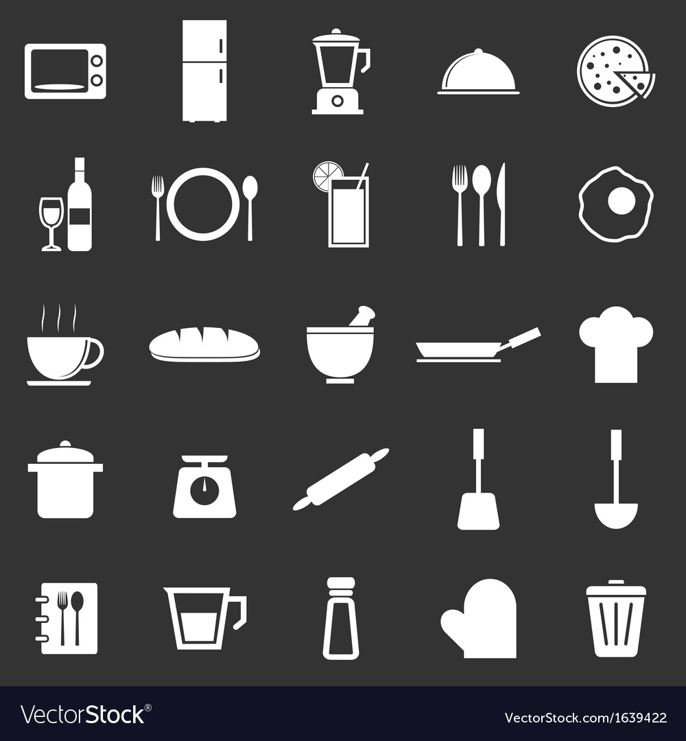 Kitchen icons on black background vector   Price: 1 Credit (USD $1)