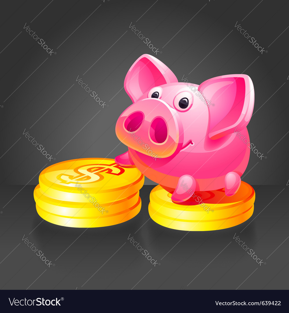 Pink piggy bank vector | Price: 3 Credit (USD $3)
