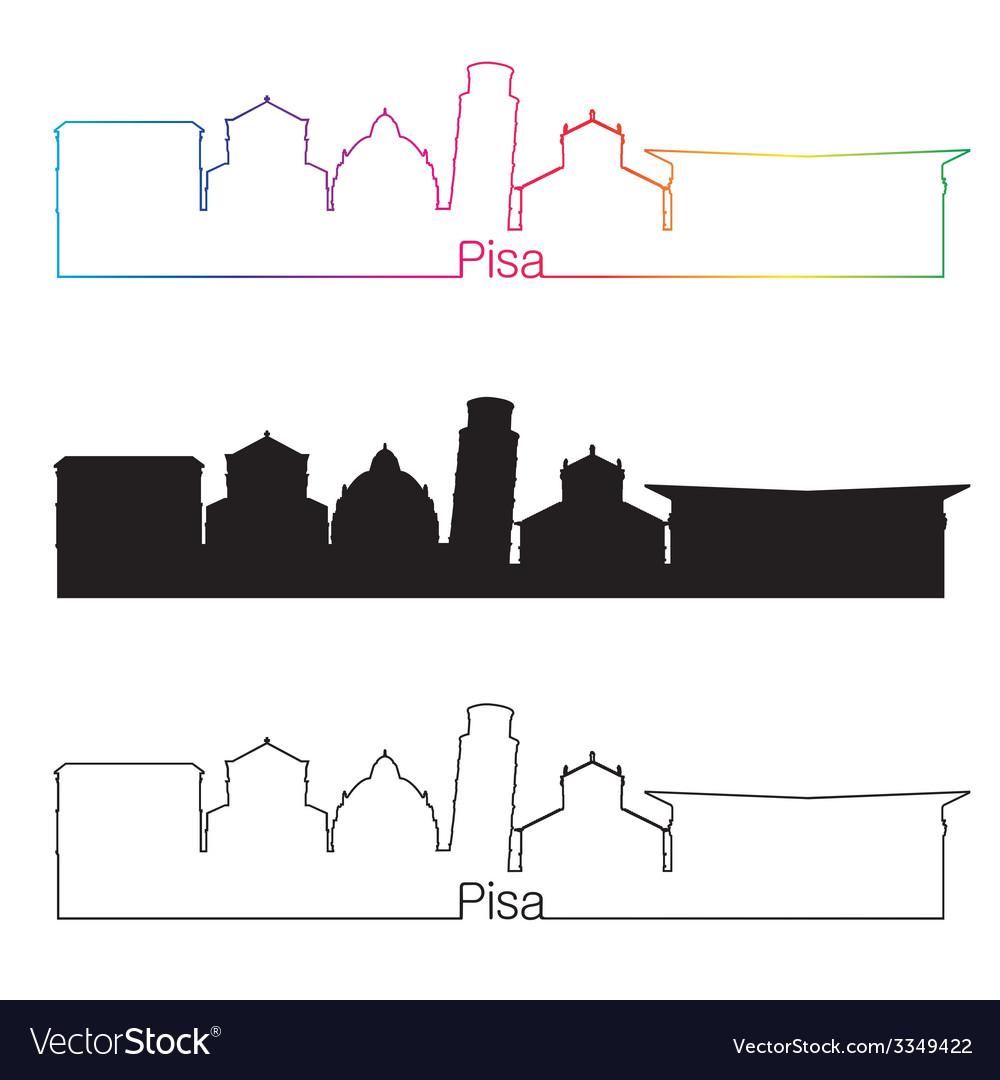 Pisa skyline linear style with rainbow vector | Price: 1 Credit (USD $1)