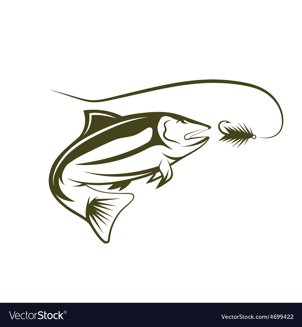 Salmon and lure design template vector | Price: 1 Credit (USD $1)