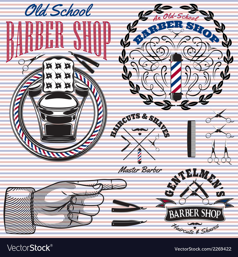 Set of icons on a theme barber shop vector | Price: 1 Credit (USD $1)