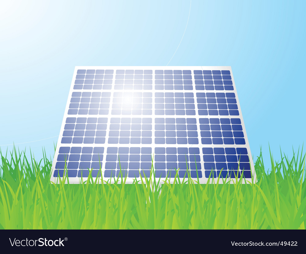Solar panel landscape vector | Price: 1 Credit (USD $1)