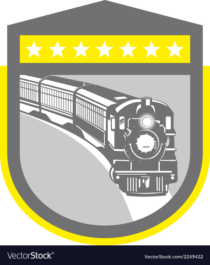 Steam train locomotive retro shield vector | Price: 1 Credit (USD $1)