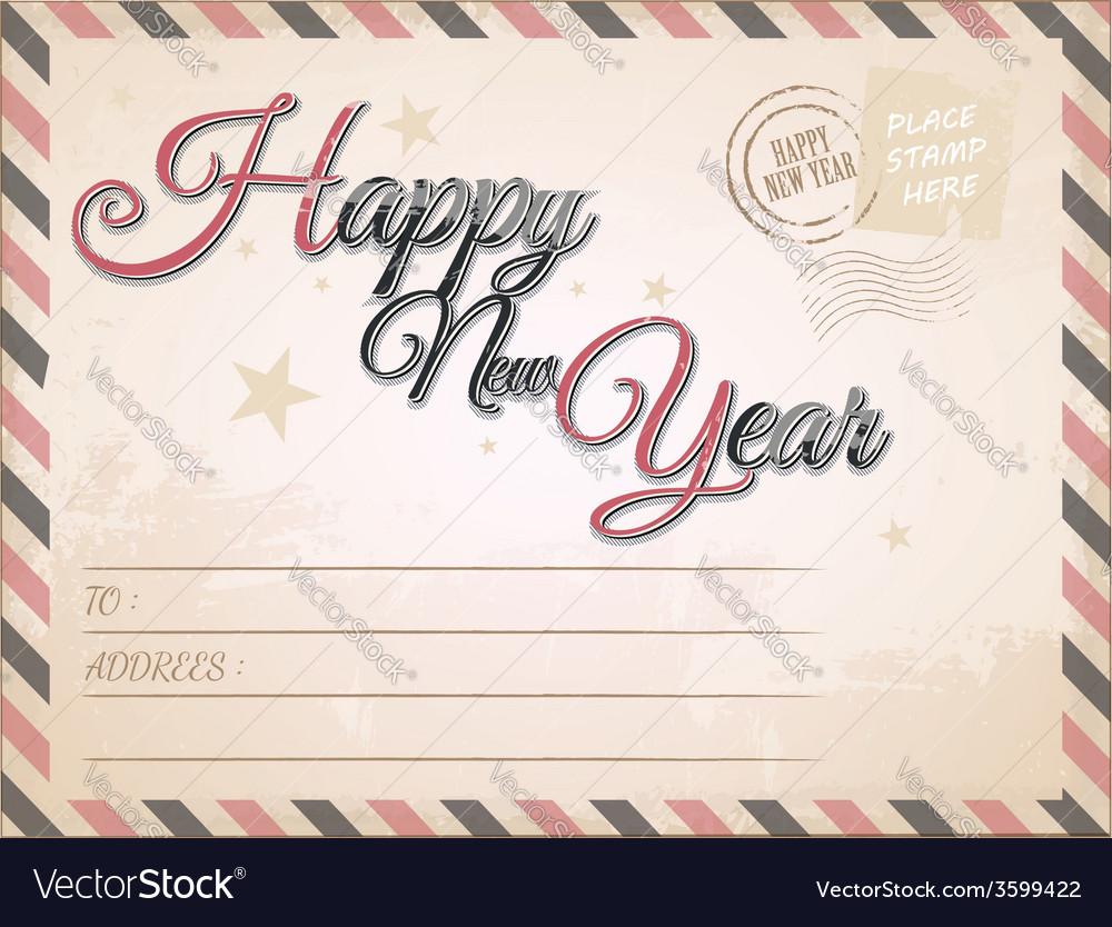 Vintage happy new year postcard vector | Price: 1 Credit (USD $1)