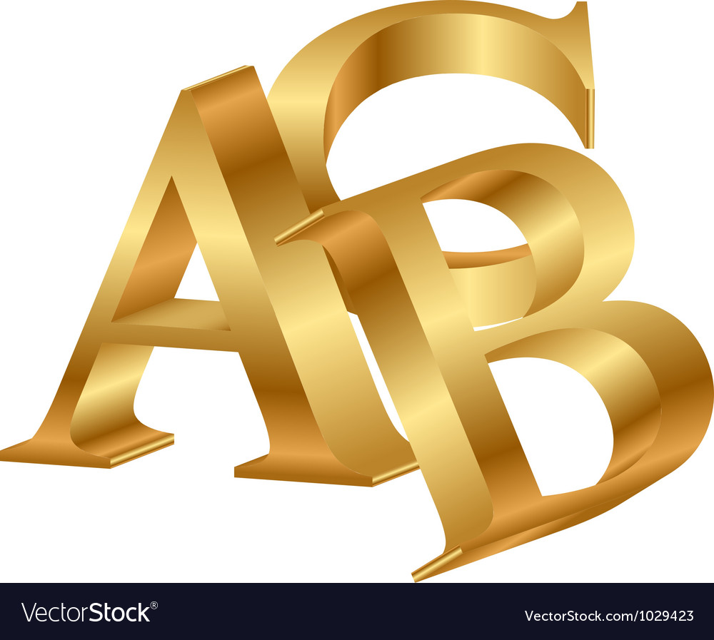 Abc gold letters vector | Price: 1 Credit (USD $1)