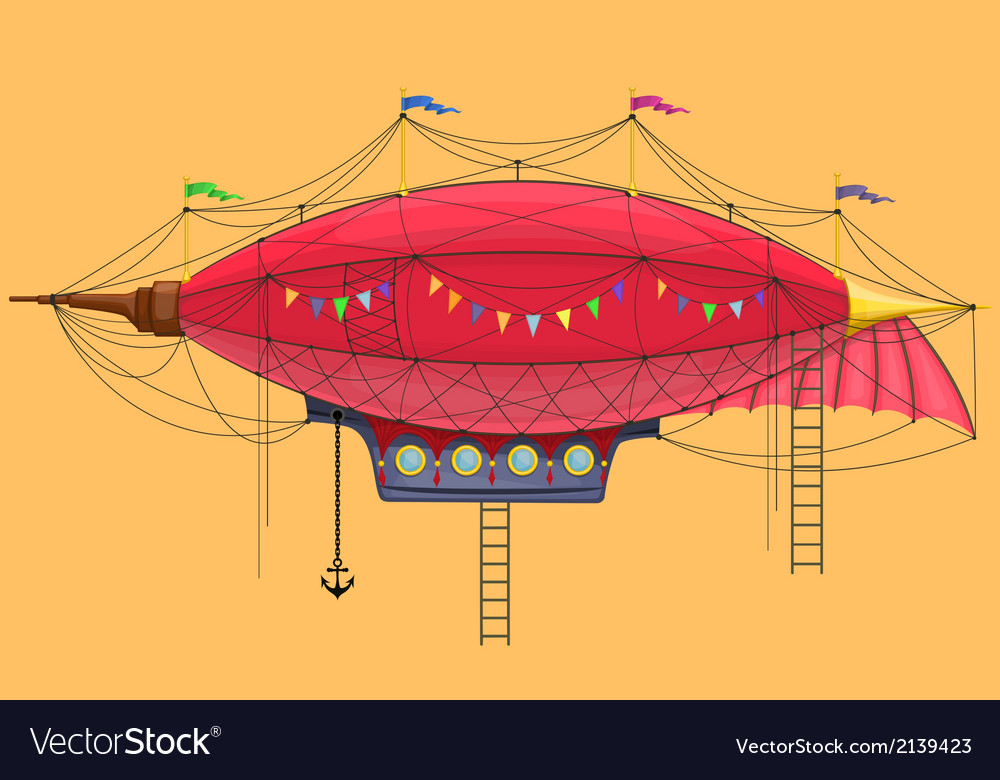 Cartoon steam punk dirigible vector | Price: 1 Credit (USD $1)
