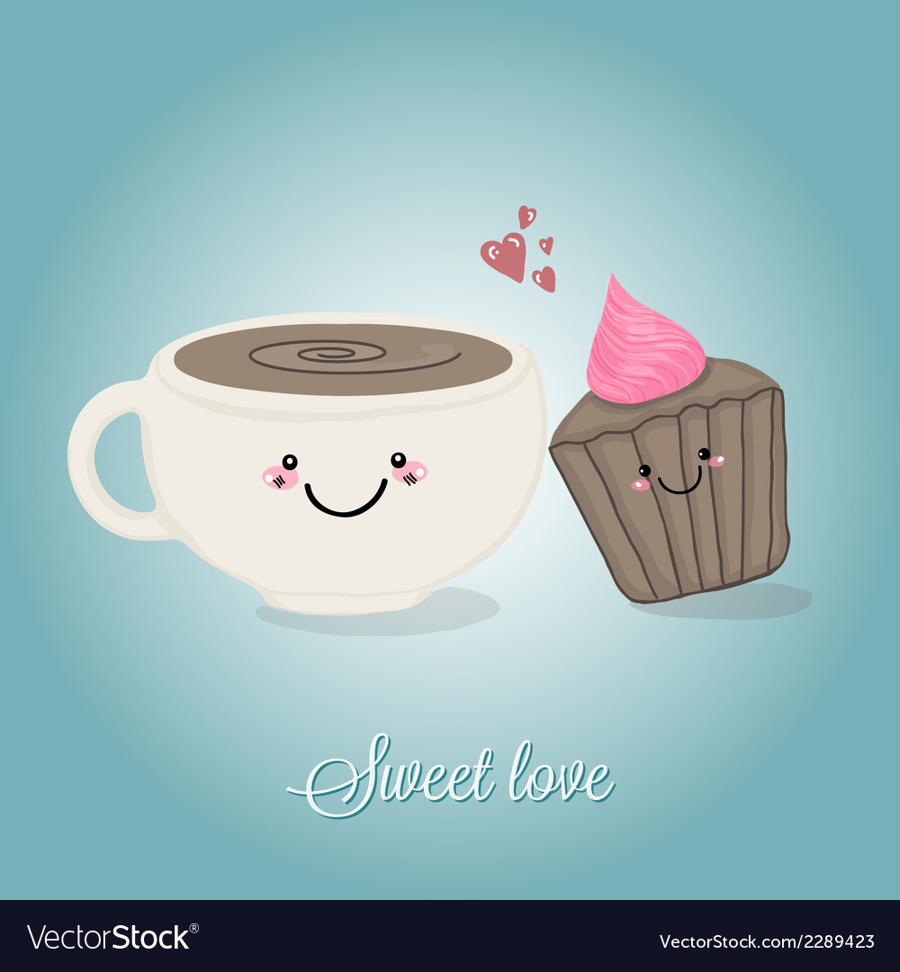 Coffe cup and cupcake sweet tandem vector | Price: 1 Credit (USD $1)