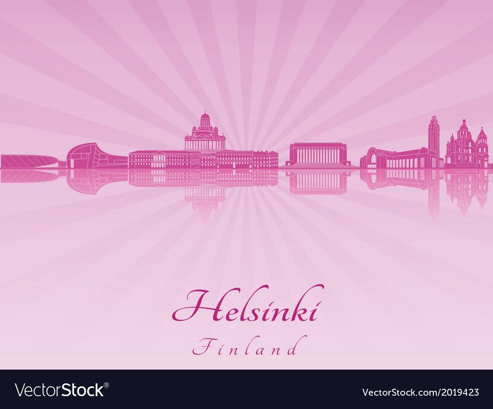 Helsinki skyline in purple radiant orchid vector   Price: 1 Credit (USD $1)