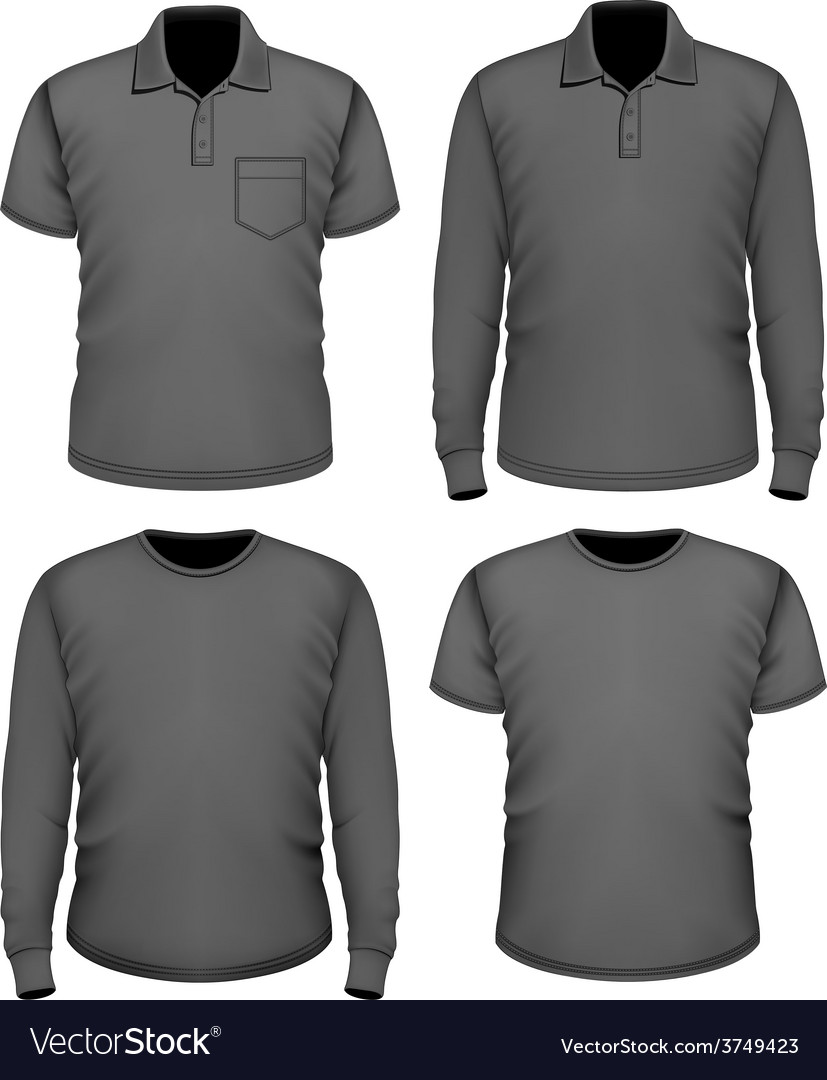 Men black short and long sleeve clothes vector | Price: 3 Credit (USD $3)
