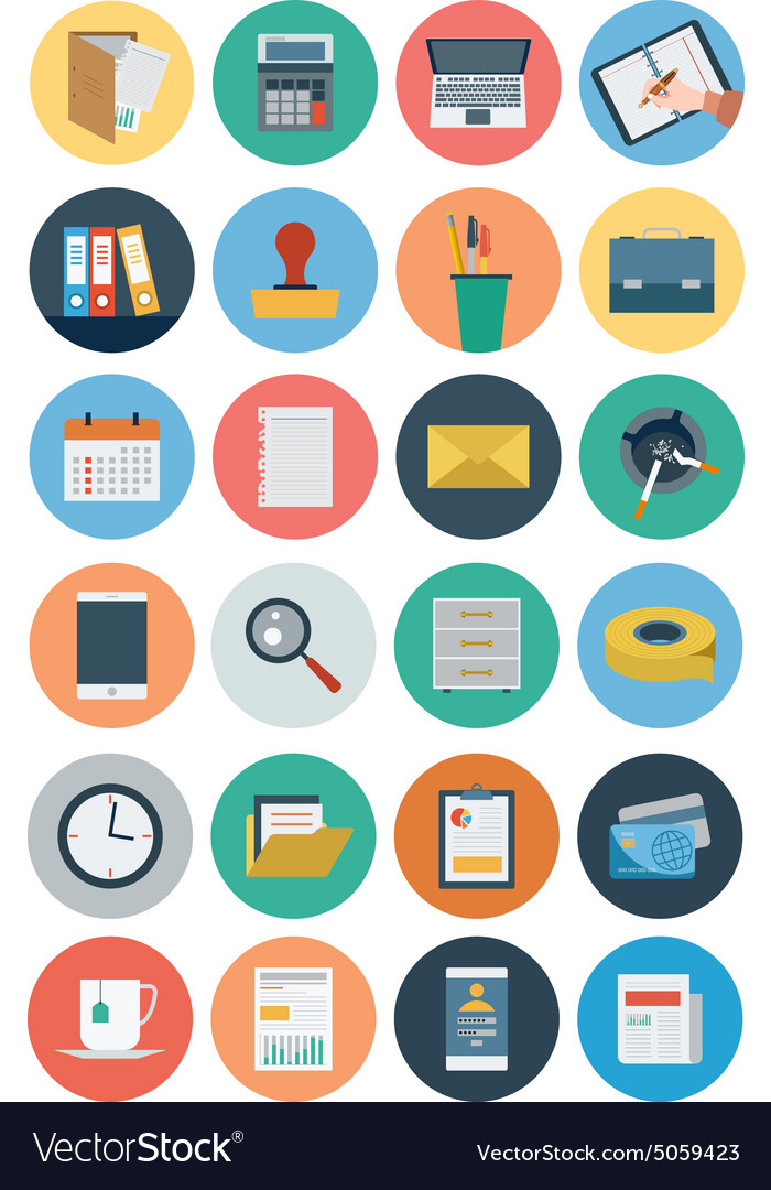 Office flat icons 1 vector