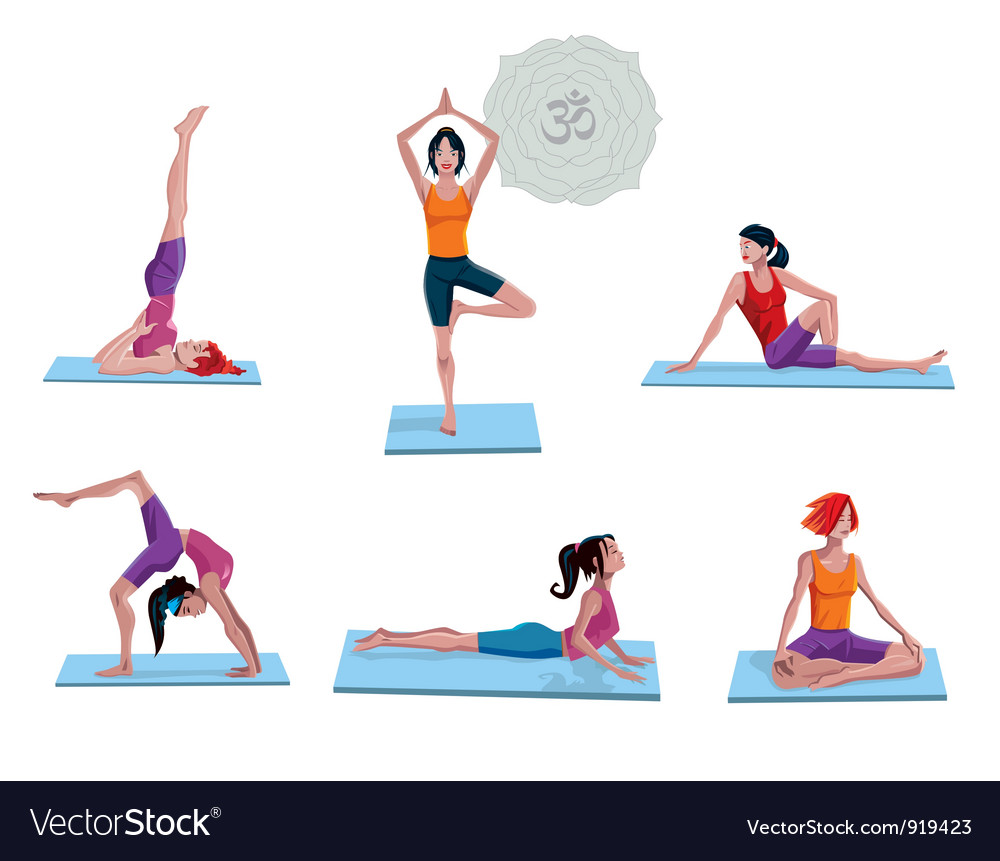 Women practicing yoga vector | Price: 5 Credit (USD $5)