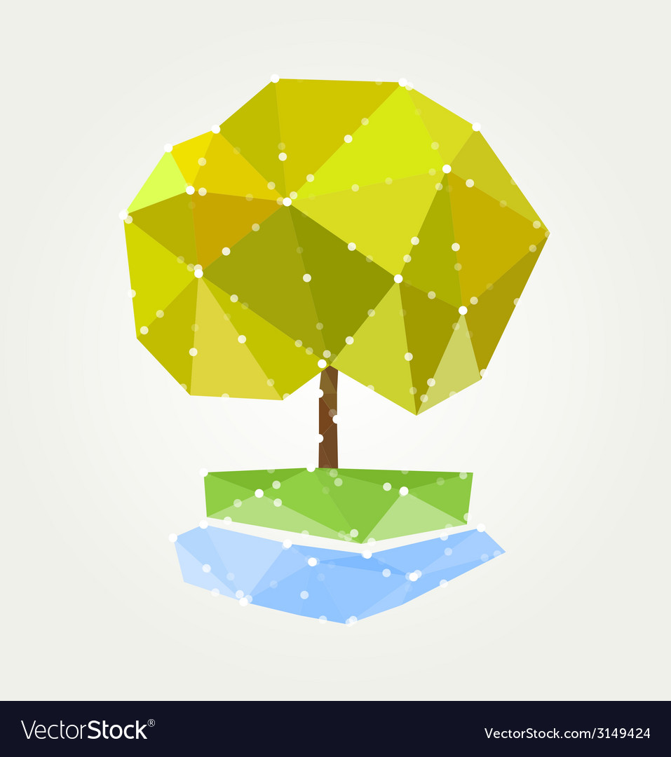 Abstract green tree of triangles vector | Price: 1 Credit (USD $1)