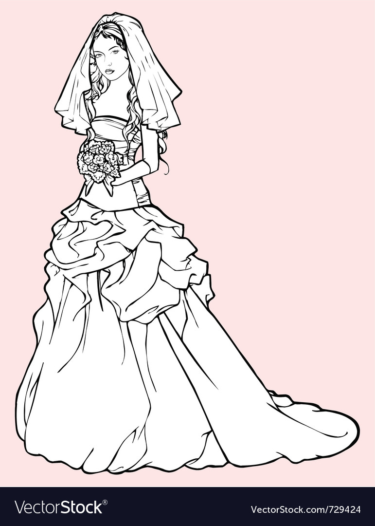 Bride in a wedding gown vector | Price: 3 Credit (USD $3)