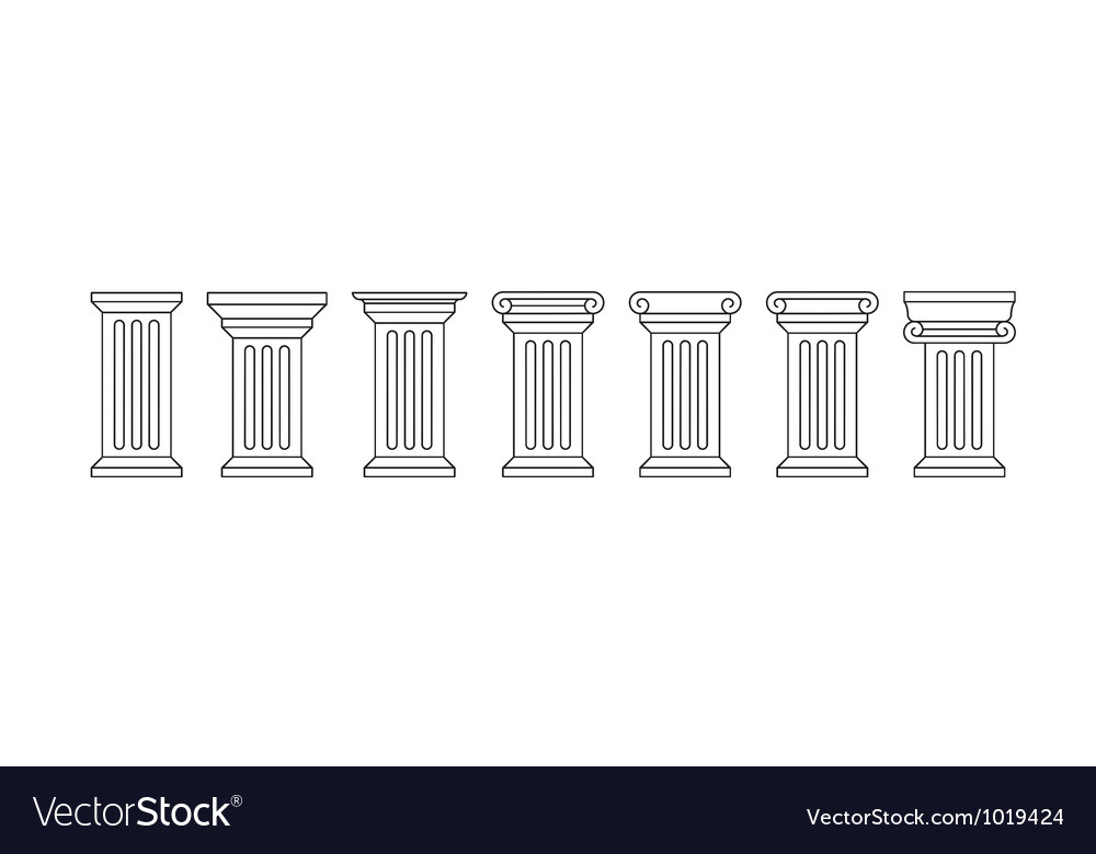 Classic column icon set vector | Price: 1 Credit (USD $1)