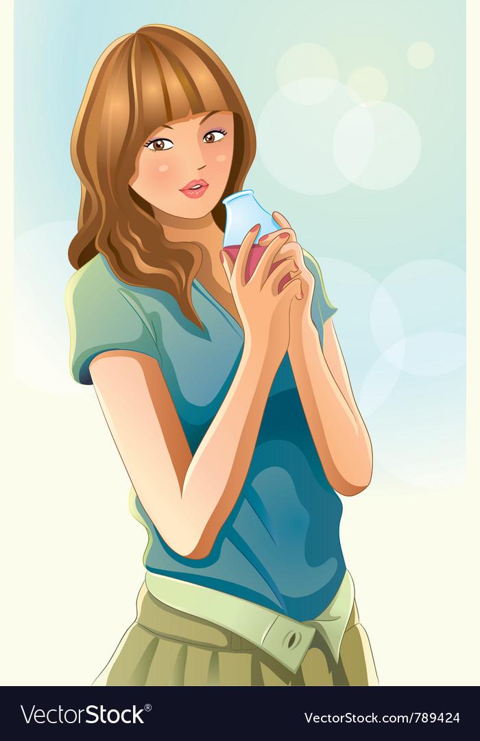 Cute girl drinking juice vector   Price: 5 Credit (USD $5)