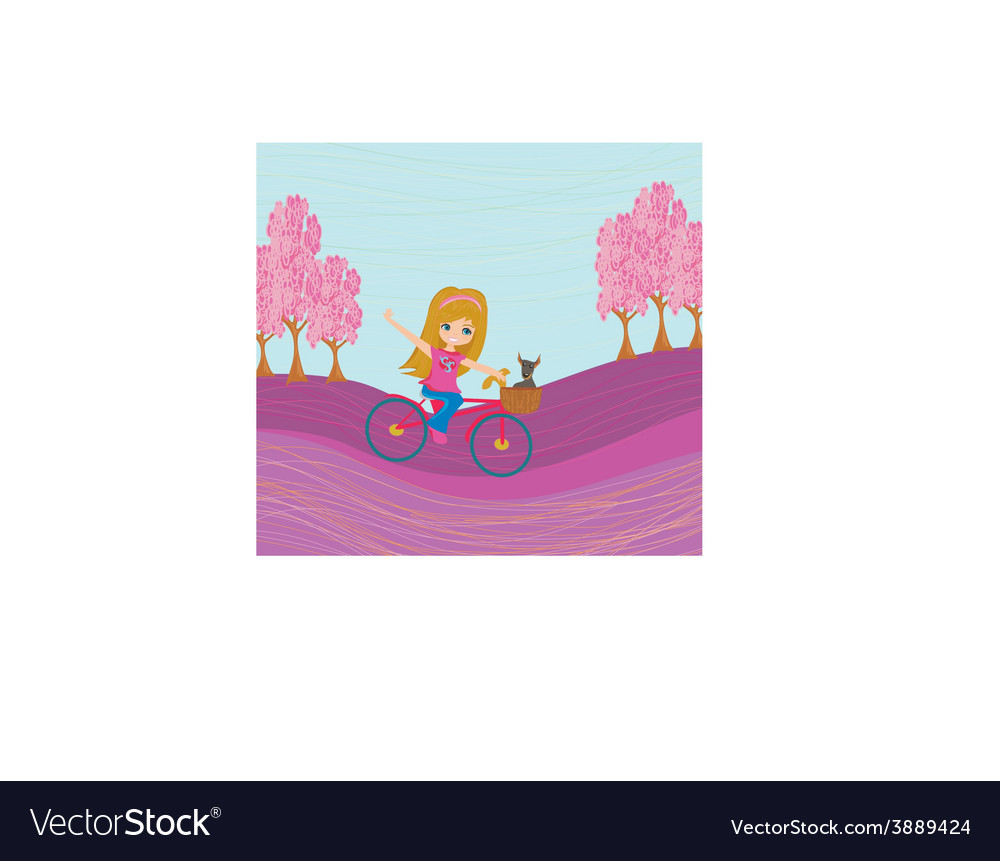 Cute happy girl riding a bike vector | Price: 1 Credit (USD $1)