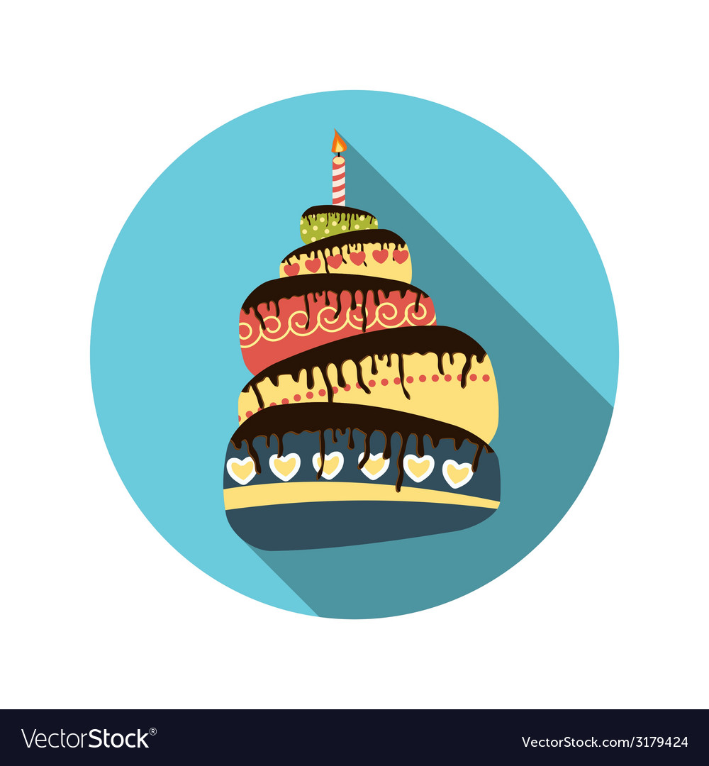 Flat design concept cake with candles with l vector | Price: 1 Credit (USD $1)