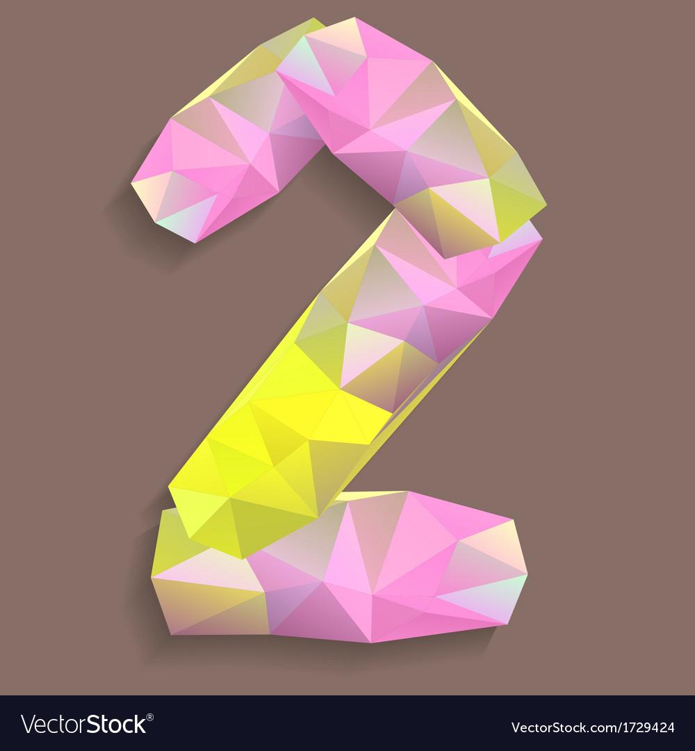 Geometric crystal digit 2 vector | Price: 1 Credit (USD $1)