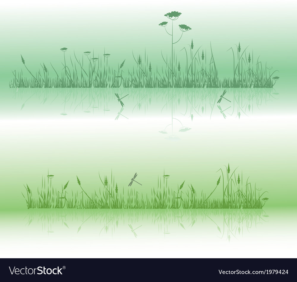 Grass and dragonflies vector | Price: 1 Credit (USD $1)