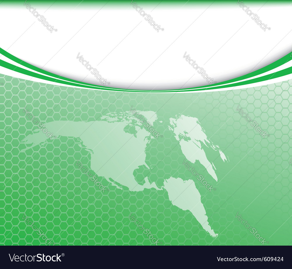 Green world map on a card vector | Price: 1 Credit (USD $1)