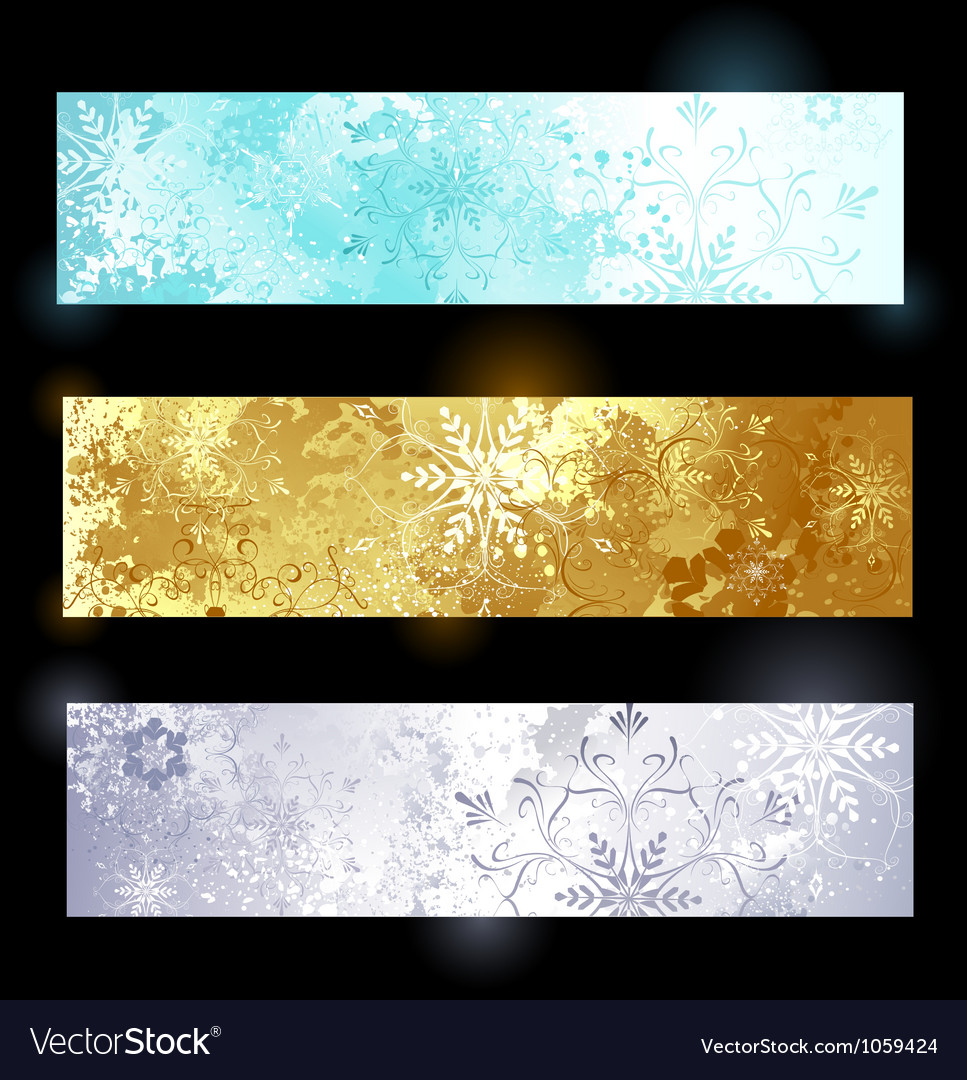 Grunge banner with snowflakes vector | Price: 1 Credit (USD $1)