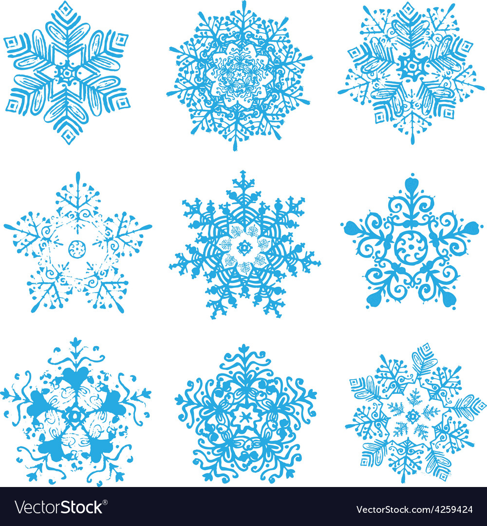 Hand-drawn snowflakes silhouettes isolated vector | Price: 1 Credit (USD $1)