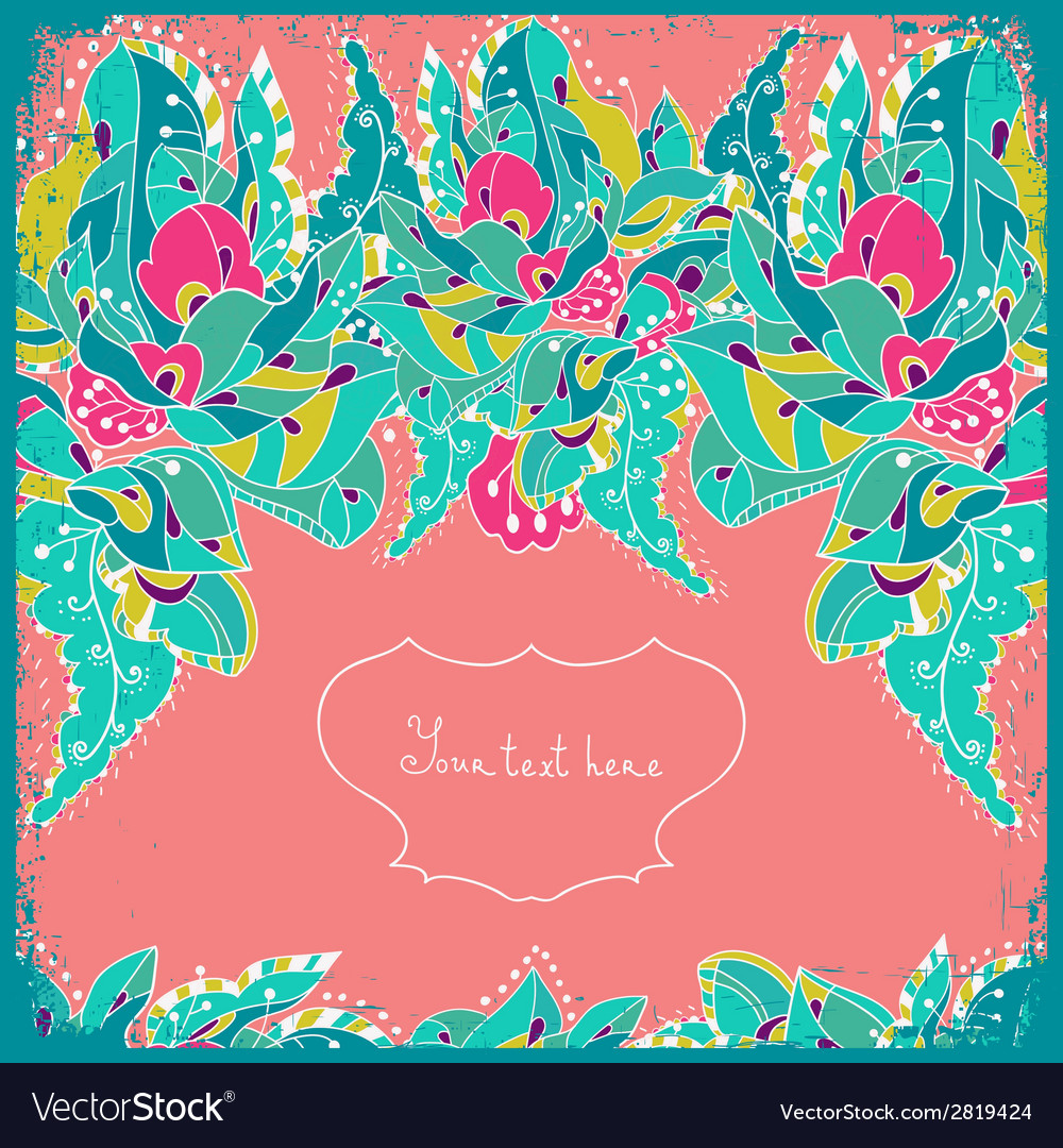 Invitation card with abstract flowers and leaves vector | Price: 1 Credit (USD $1)