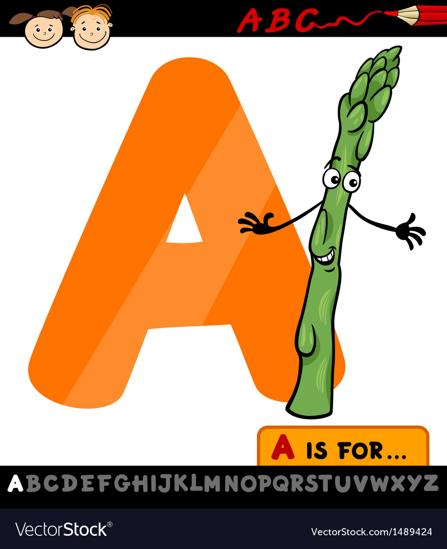 Letter a with asparagus cartoon vector | Price: 1 Credit (USD $1)