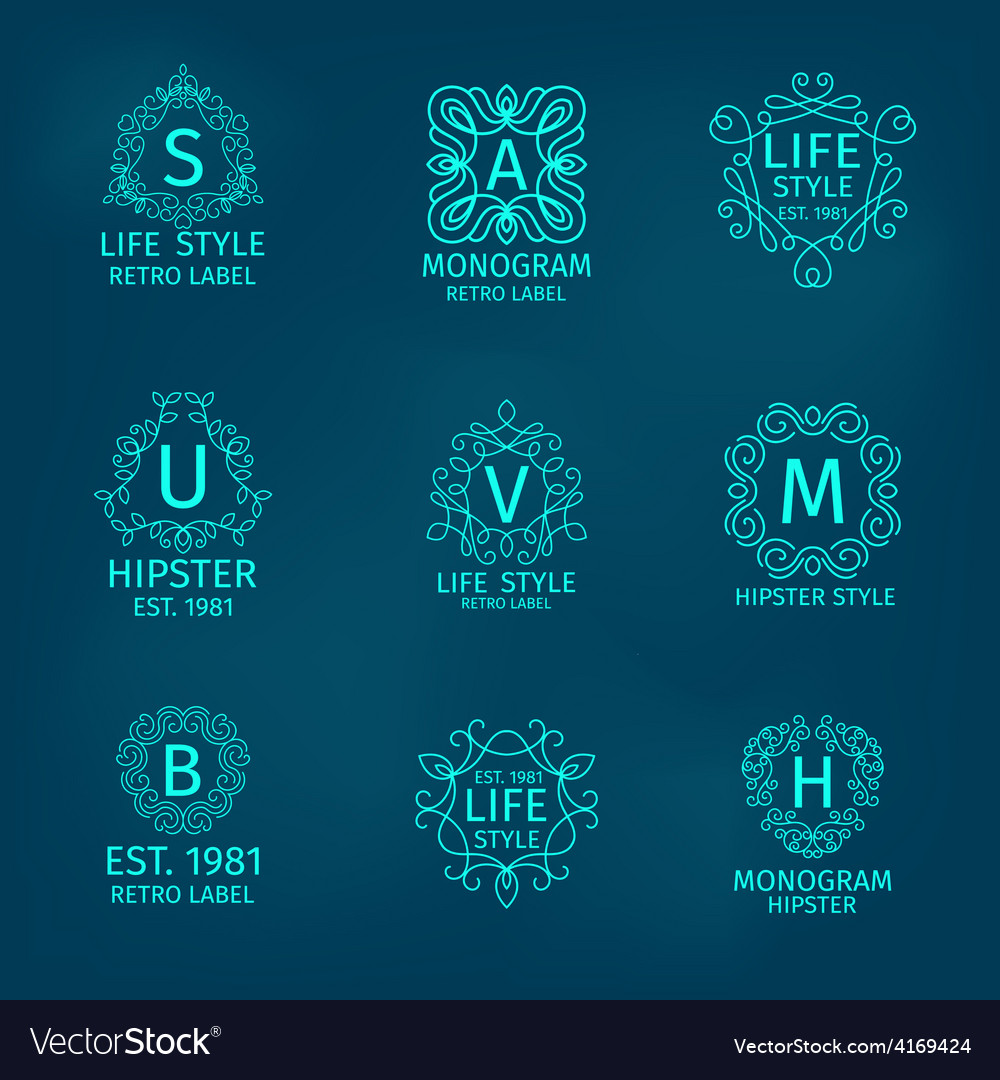 Monogram hipster set vector | Price: 1 Credit (USD $1)