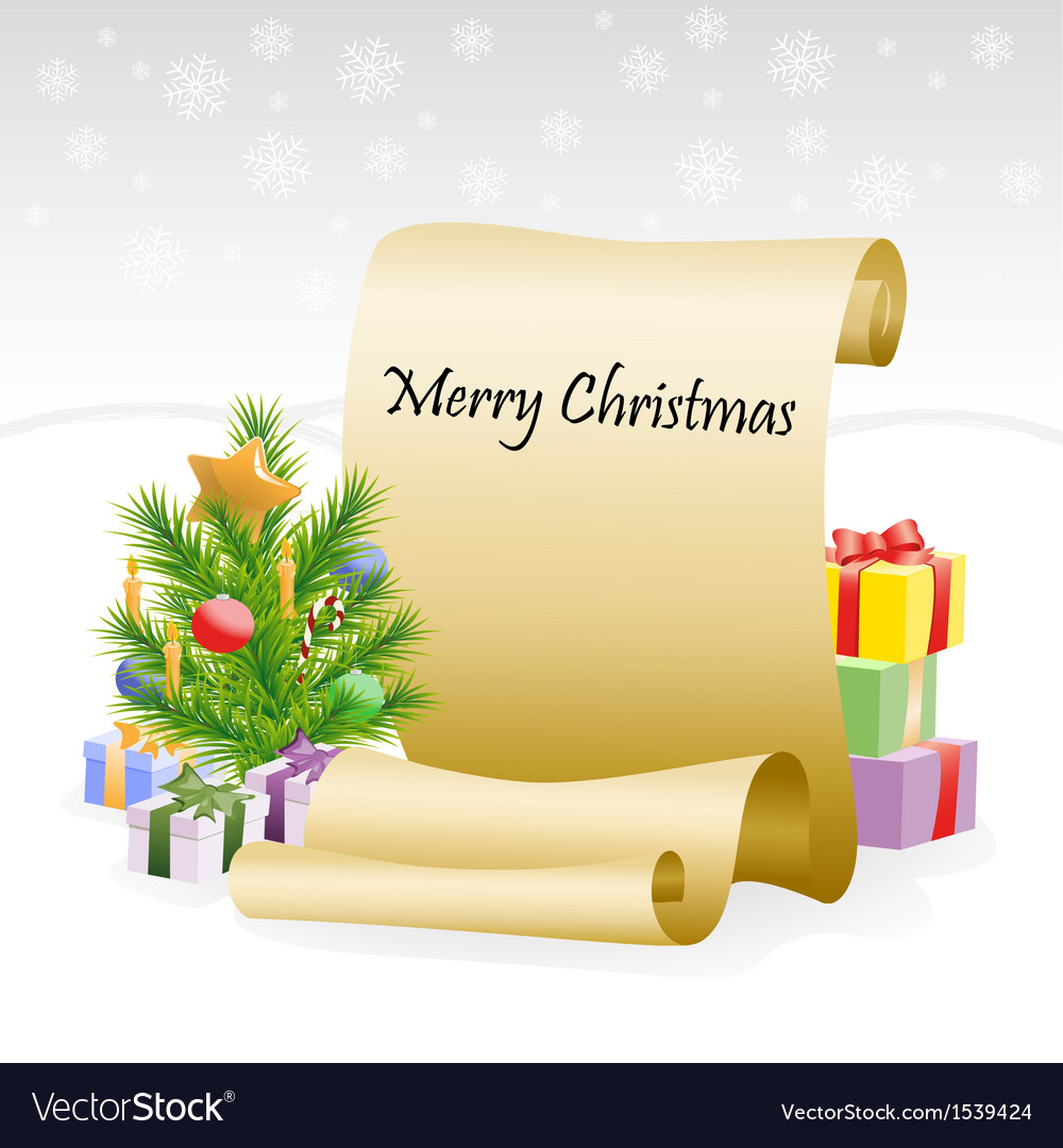 Paper scroll for christmas congratulations vector | Price: 1 Credit (USD $1)