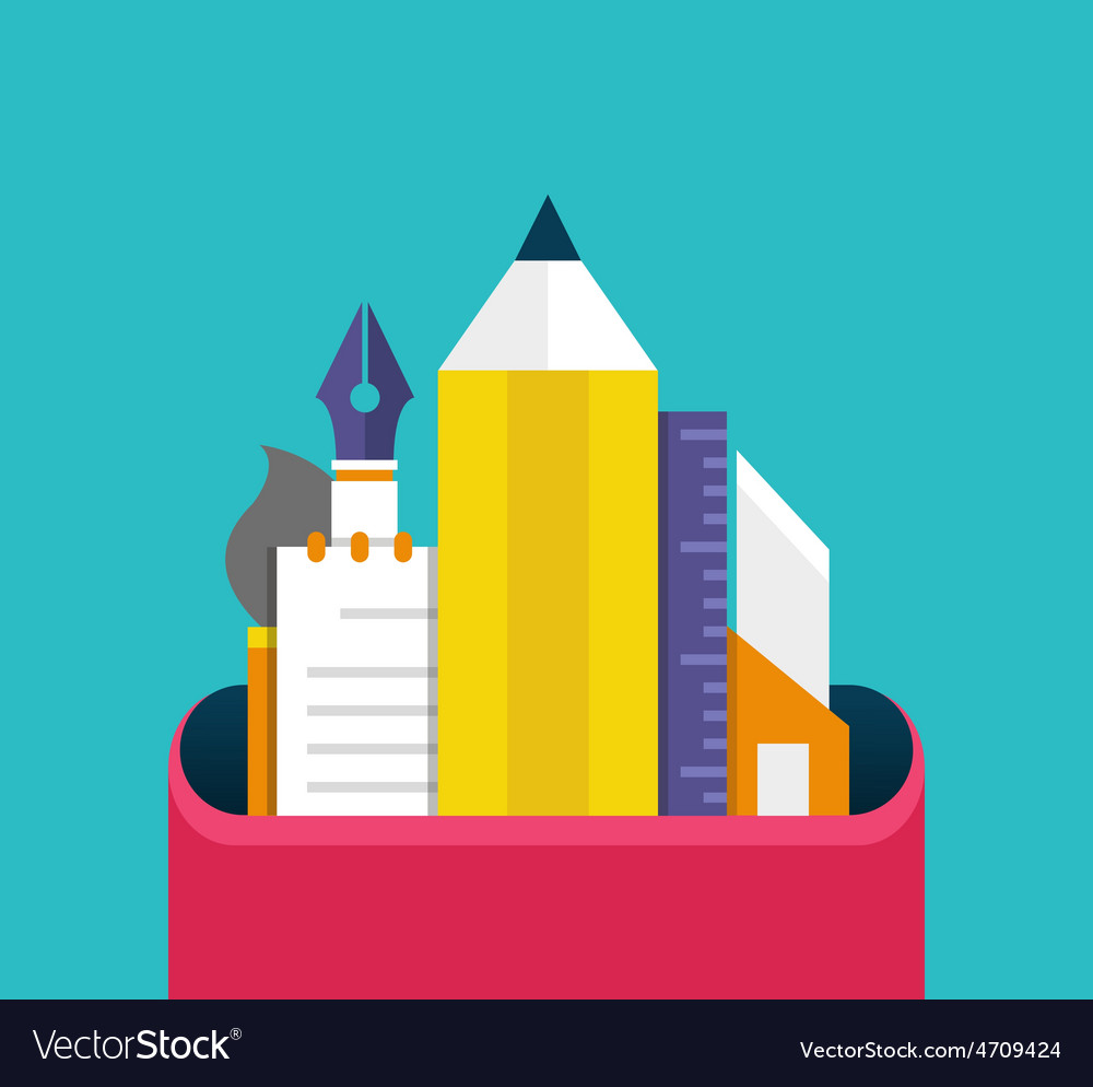 Set of graphic designer items and tools office vector | Price: 1 Credit (USD $1)