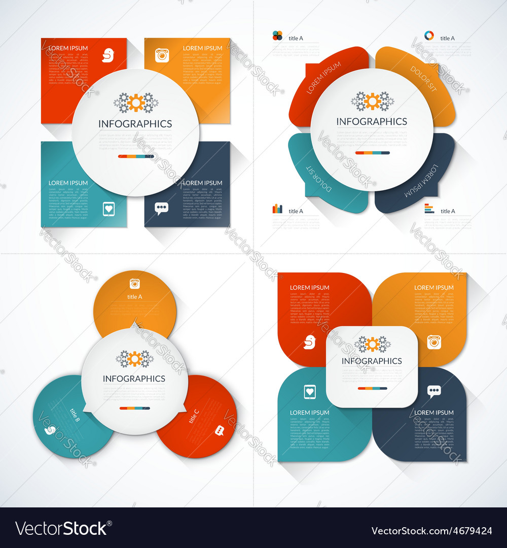Set of modern minimal infographic design templates vector | Price: 1 Credit (USD $1)