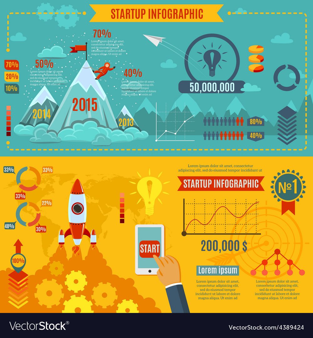 Startup infographics set vector | Price: 1 Credit (USD $1)
